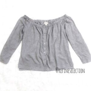 Cloth & Stone Button Grey Off The Shoulder Blouse